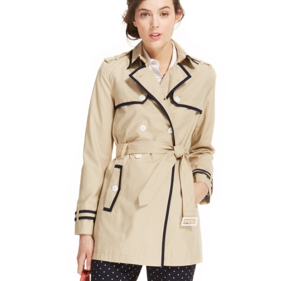 Tommy Hilfiger Jackets & Blazers - Tommy Hilfiger Women's Belted Piped Trenchcoat